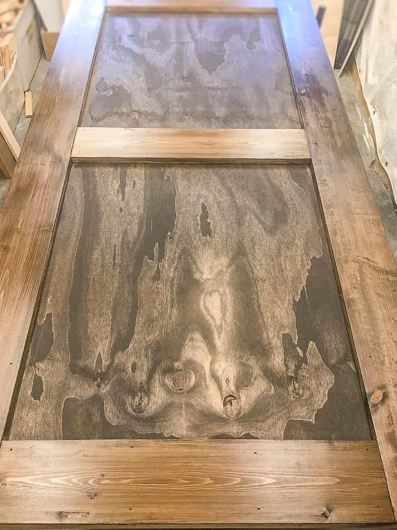 DIY barn door stained dark brown