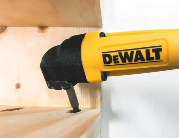 This handy right angle drill attachment makes inserting pocket hole screws in tight places much easier!