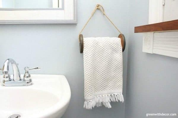 DIY towel holder from old giant spool