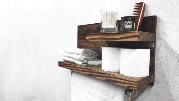 DIY towel rack with shelves