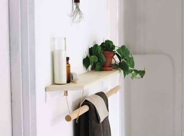 wood and copper towel bar