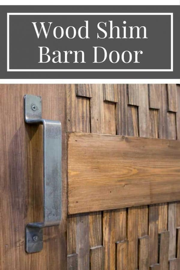 A new twist on a barn door! The wood shim texture on this sliding barn door is amazing! | DIY barn door | DIY sliding door | DIY door | wood shim project