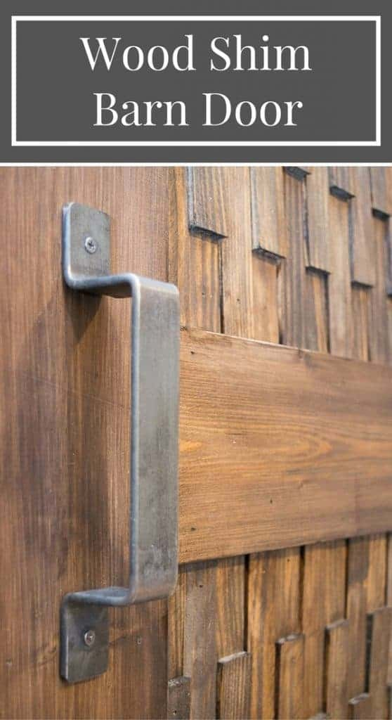 This is the coolest sliding barn door! The texture comes from over 200 wood shims. Get the tutorial on how to make this barn door at The Handyman's Daughter. | wood shim texture | how to make a barn door | modern barn door | rustic barn door | non-traditional barn door
