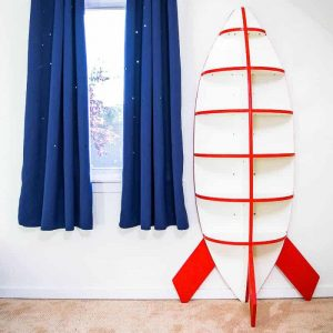 Shoot for the stars with this rocket bookshelf! Easy to make with just one sheet of plywood!