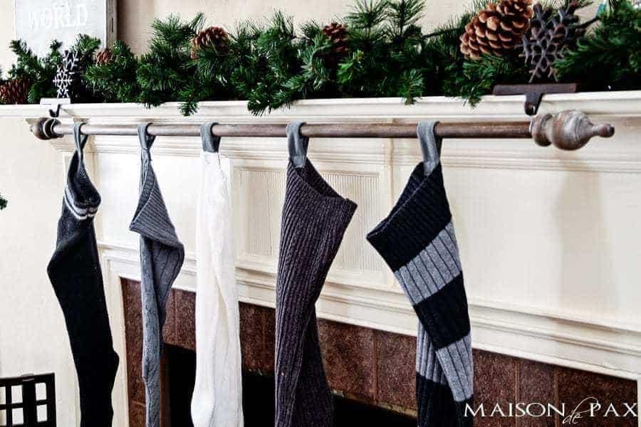curtain rod stocking holder on mantel
