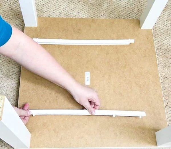 attach drawer rails to underside of DIY lego table
