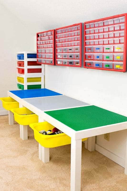 DIY lego table with storage underneath and on wall