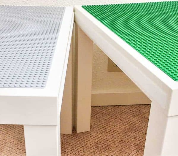 Two DIY lego tables stuck together with velcro