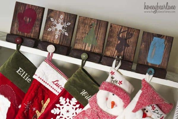 These rustic stocking holders by Honey Bear Lane are perfect for your farmhouse mantel.