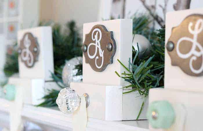 monogrammed stocking holders with glass knob hooks