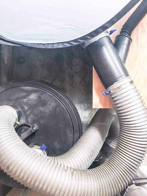 This is the dust collector hookup for the miter saw dust hood.