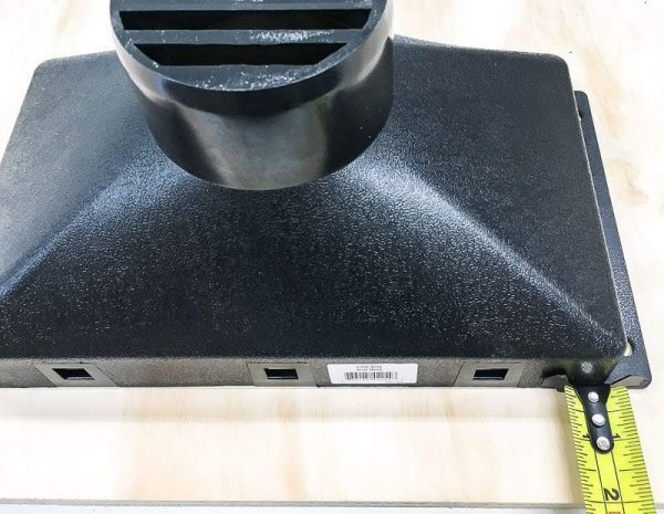 Mark the sides of the sawdust funnel for your miter saw dust hood.