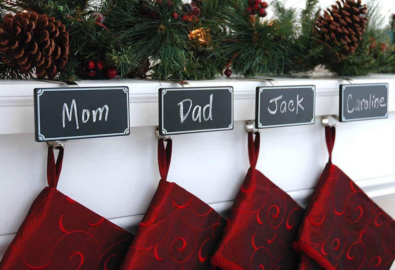 chalkboard stocking holder hooks