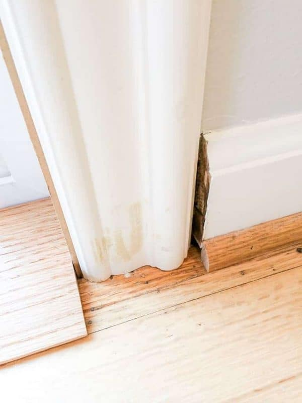 Our new door trim was too thin for our existing baseboards. Plinth blocks to the rescue!