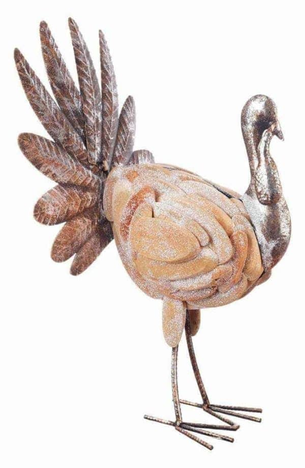 This fancy turkey decoration from Nordstrom is made of hand painted metal for a unique finish.