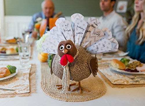 Remind your children of all the things to be grateful for on Thanksgiving with this little guy. Have them write their favorites on the paper tail feathers and discuss them over dinner!