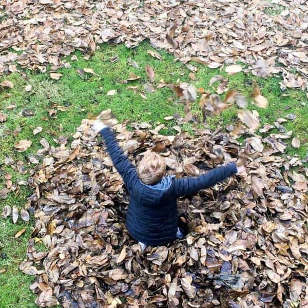 Playing in the leaf pile is mandatory after cleaning them all up!