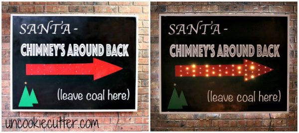 Point Santa in the right direction with this sign by Uncookie Cutter. It's our 11th day of a DIY Christmas!