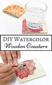 The sky is the limit with these watercolor wooden coasters! Create your own designs, or use a stencil, and color with watercolor pencils for a fun pop of color on your coffee table!