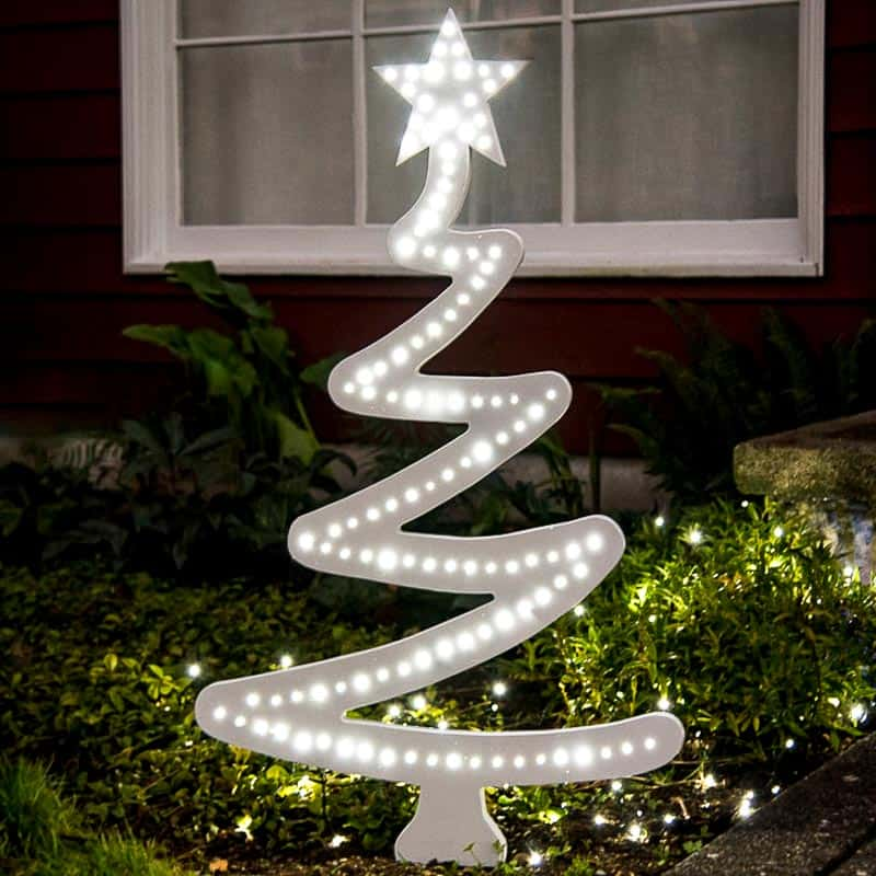 DIY wooden Christmas tree with lights outdoors