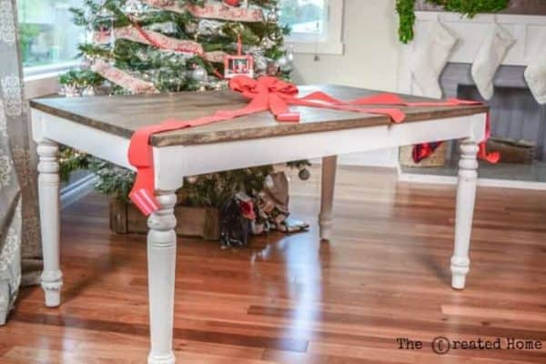On the 10th day of a DIY Christmas, The Created Home gave this wood table a makeover!
