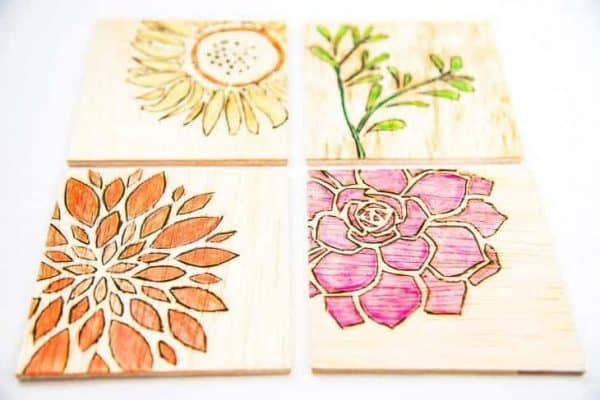Create your own theme for these watercolor wooden coasters! Floral, monograms, sports teams, you name it!