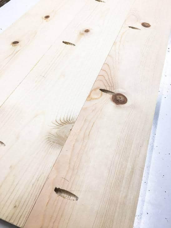 Plank the top 1x 6 pieces together with pocket hole screws.