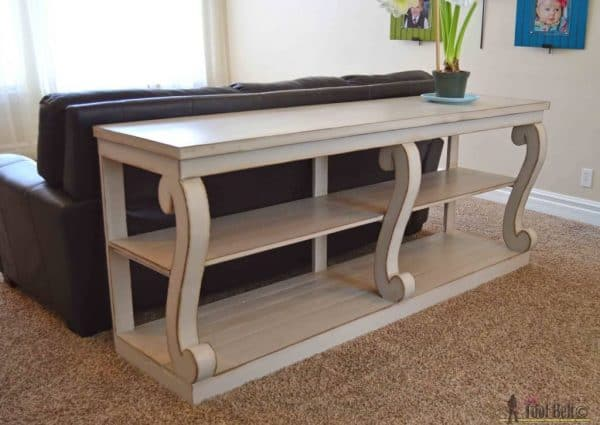 This console table with scroll legs from Her Tool Belt is just as gorgeous as the ridiculously expensive one in the store!