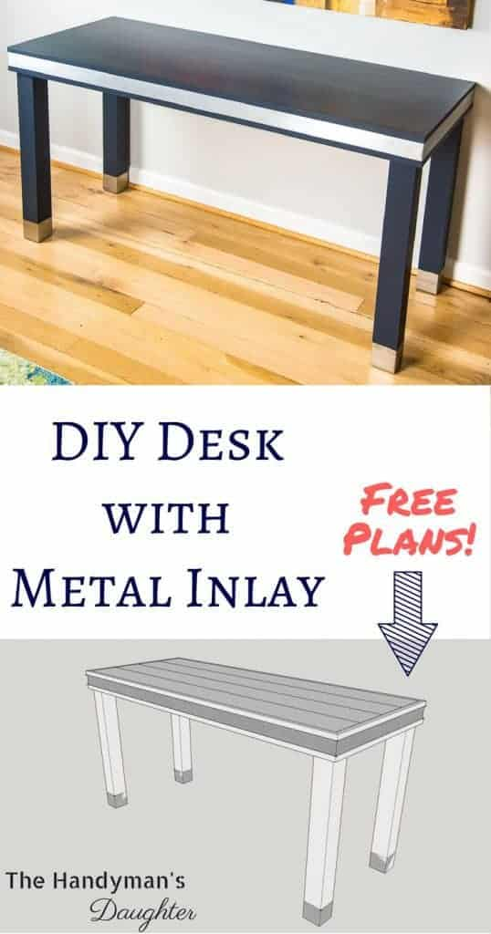 Make this wood and metal desk for your home office! This simple desk design is perfect for highlighting the metal inlay and feet. Get the free woodworking plans at The Handyman's Daughter! | DIY desk | desk inspiration | home office idea | building plans