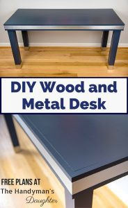 Combine the sleek look of brushed aluminum with the sophistication of deep navy blue to create this amazing DIY wood and metal desk! Get the free woodworking plans and step-by-step tutorial at The Handyman's Daughter.   modern desk   mixed materials desk   modern industrial   office ideas   home office ideas   stainless steel desk   #woodworkingplans   #woodworker   #woodworking   #diyproject   #desk