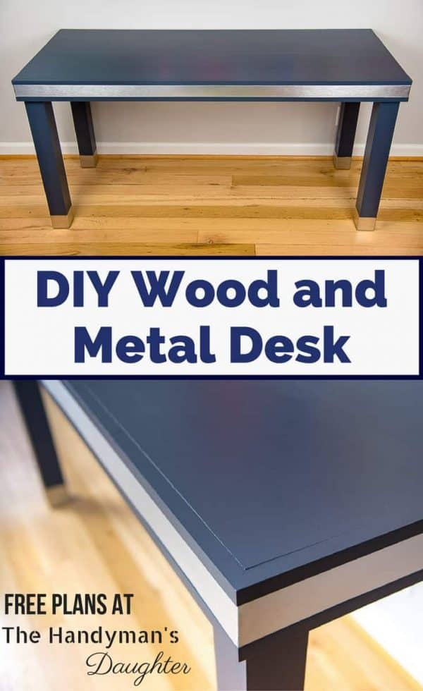 Combine the sleek look of brushed aluminum with the sophistication of deep navy blue to create this amazing DIY wood and metal desk! Get the free woodworking plans and step-by-step tutorial at The Handyman's Daughter. | modern desk | mixed materials desk | modern industrial | office ideas | home office ideas | stainless steel desk | #woodworkingplans | #woodworker | #woodworking | #diyproject | #desk
