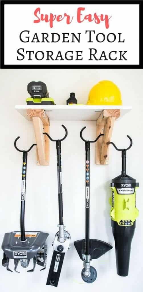 Get those garden tools off the garage floor! This super simple garden tool storage rack can hang everything from your weed whacker to leaf blower on one compact rack, with even more storage above! Get the tutorial at The Handyman's Daughter! | garden power tools | landscaping tools | gardening | garage storage | shed storage | garage organization | shed organization