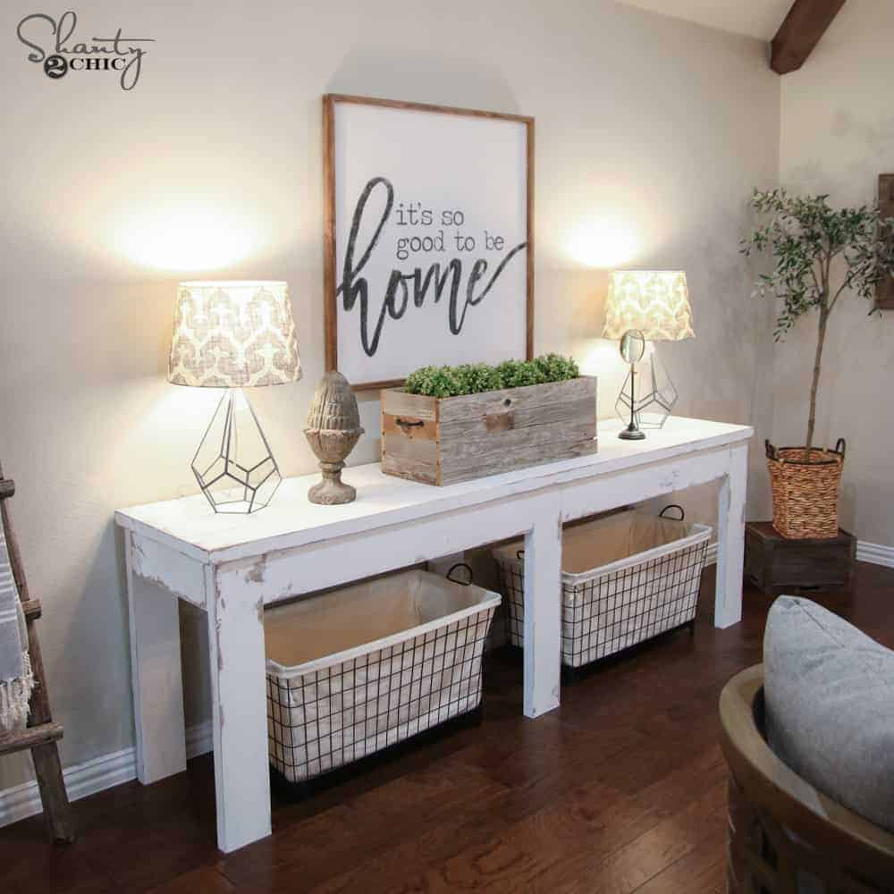 Farmhouse console table by shanty2chic the handyman 39 s for Cost to build farmhouse