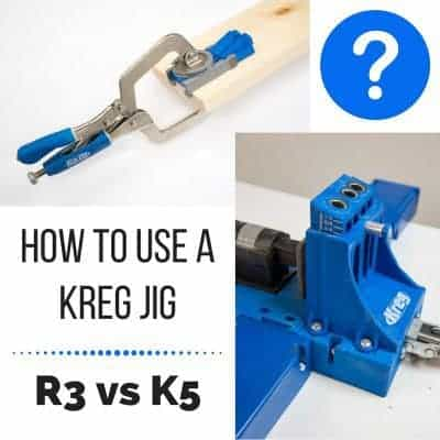 So many woodworking plans call for a Kreg Jig, but which one should you get? I'll show you how to use a Kreg Jig, whether it's the inexpensive R3 or the fancy K5, so you can see which one is right for you! | Kreg Jig models | How to Use a Kreg Jig R3 | How to Use a Kreg Jig K5 | how to drill a pocket hole
