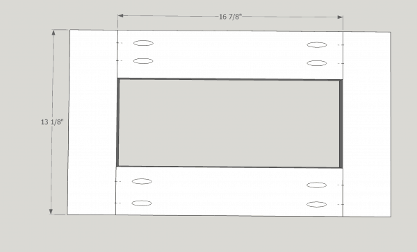 diagram of end table top with hole for planter box
