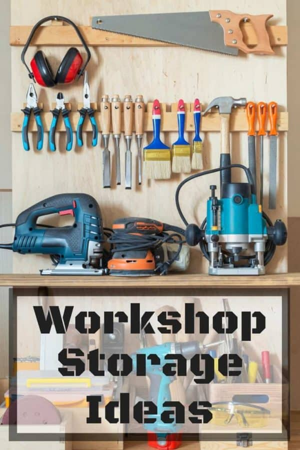 Trying to get your workshop organized? Check out how far my small workshop space has come, with these handy workshop storage ideas! | woodshop | woodshop storage | woodshop organization | tool storage | tool organization | garage storage | garage organization