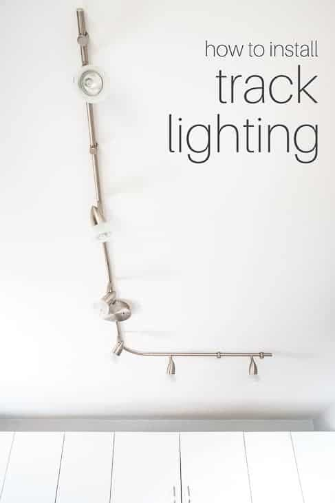 Kitchen track lighting brightens up every corner of your space! Customize the shape and direction of the lights for the perfect task lighting in the kitchen. Check out this tutorial to learn how to do it yourself! | kitchen lighting | kitchen track lighting | kitchen lights | track lights | replace track lighting | replace track lights | update track lighting | modern track lighting