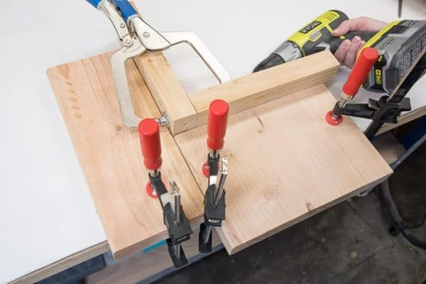 boards clamped at a right angle to prevent shifting of boards with pocket holes