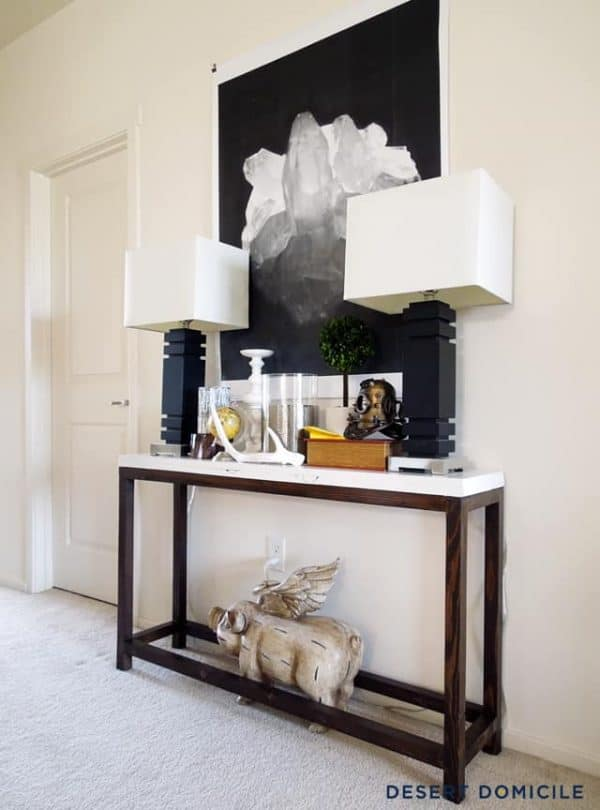 This two-toned console table from Desert Domicile only cost $18 to make!