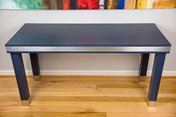 Give your home office the modern/industrial look with this wood and metal desk!