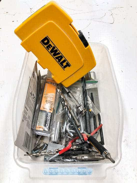 Drill bits usually get tossed into this bin, rather than being put away properly.