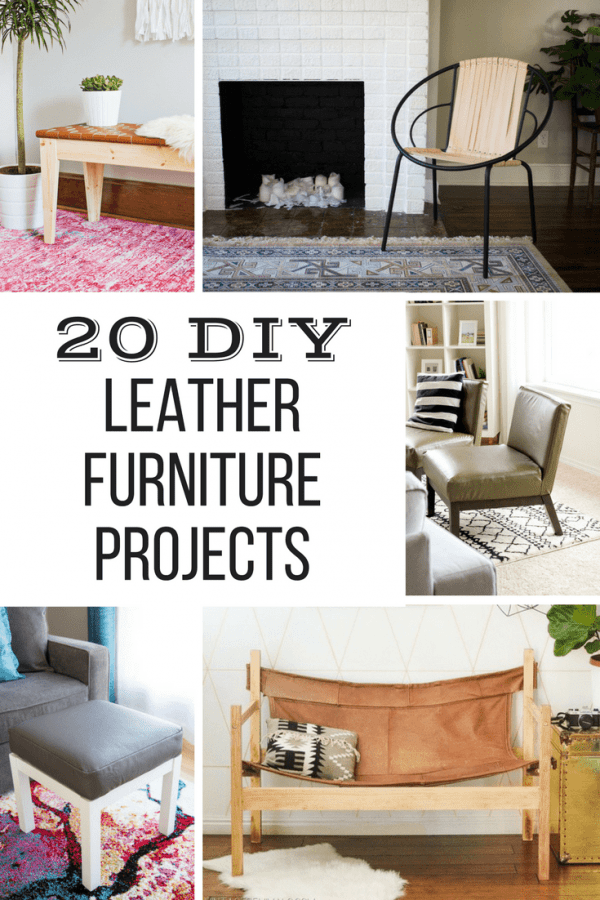 collage of DIY leather projects with text overlay