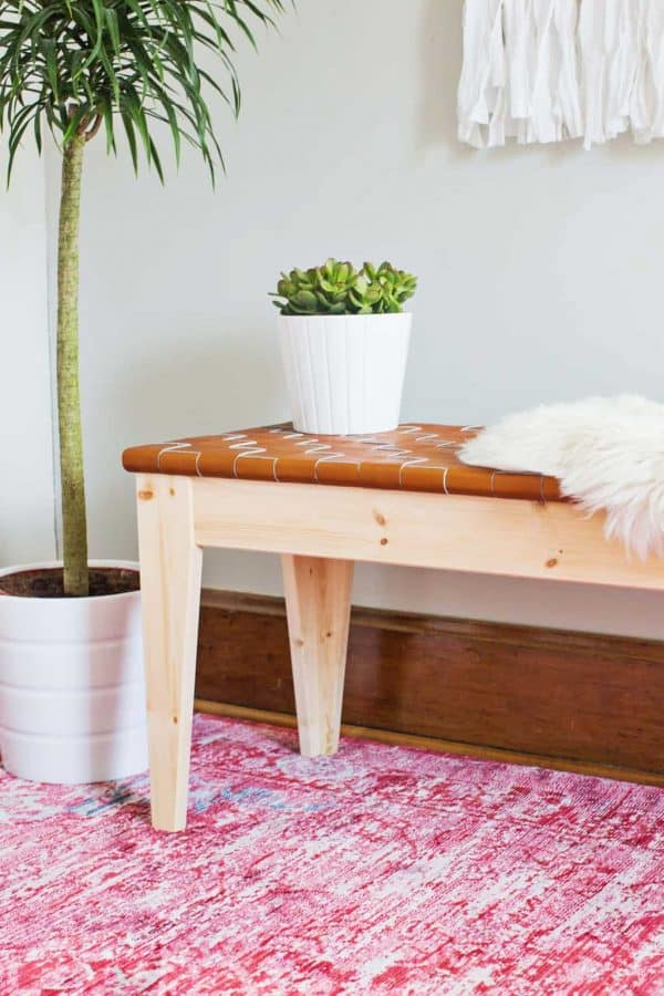 woven leather bench - DIY Leather project