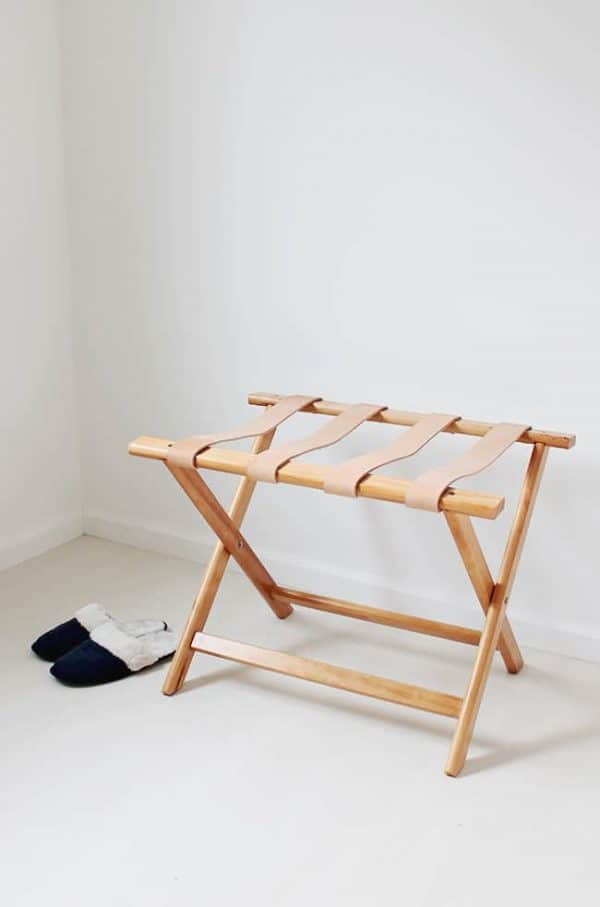 DIY leather luggage rack - leather project ideas