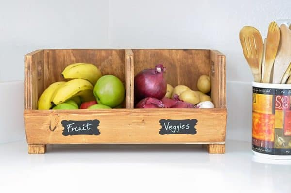 DIY wood bins with fruits and vegetables