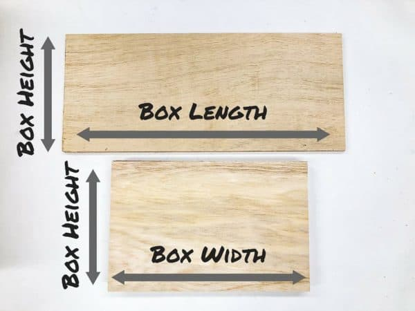 """two pieces of 1/4"""" plywood with dimensions labeled"""