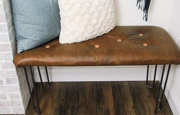 DIY tufted leather bench - leather projects