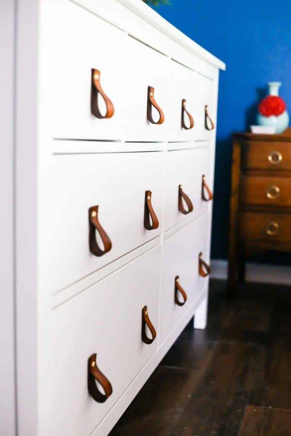 DIY leather drawer pulls on white dresser