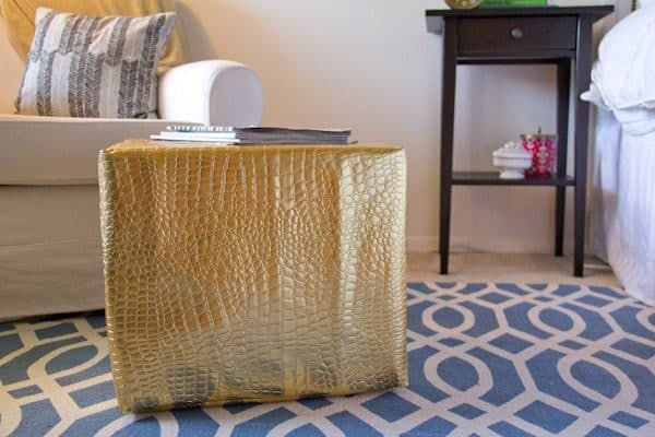 DIY leather cube ottoman - leather projects