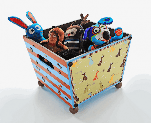 wood bin filled with dog toys